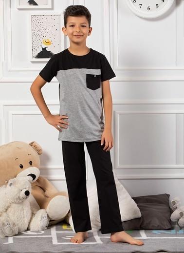 Elitol Pamuklu Likralı Erkek Çocuk Pijama Takım Gri